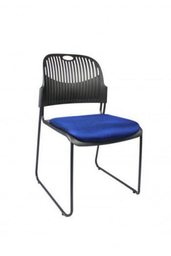 Black frame blue office chair meeting room boardroom stackable sydney