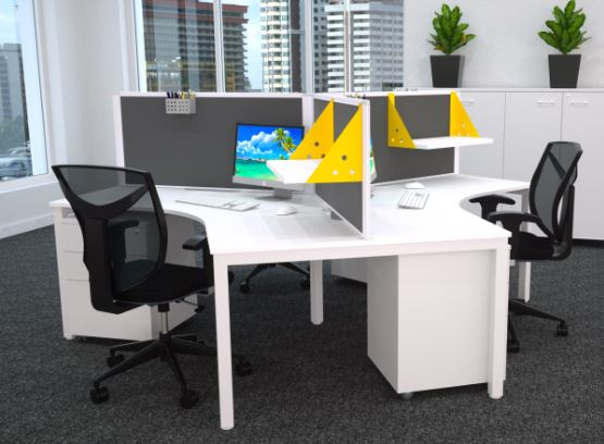 White steel office workstations