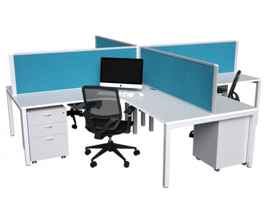 White steel office workstations cross