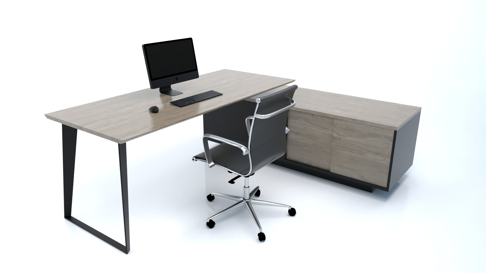 Modern steel black executive desk