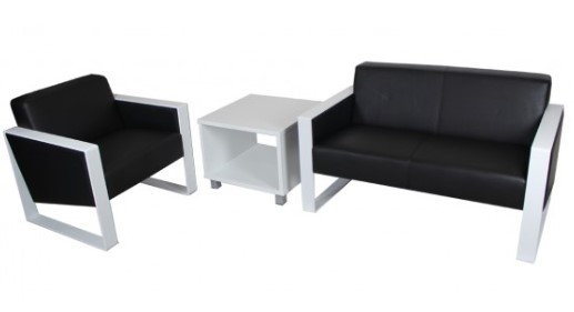 Modern office lounge suite black leather