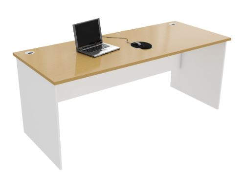 White and wood office desk